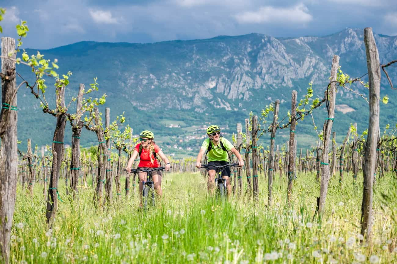 Mlad par kolesari z električnimi kolesi po Vipavski dolini
