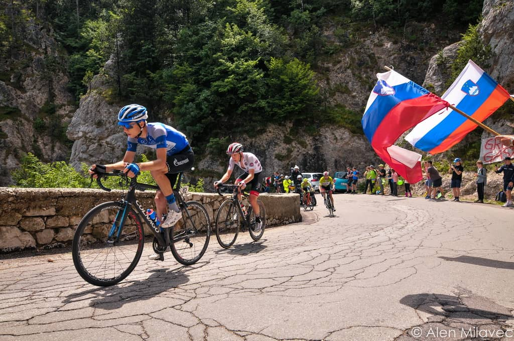 Professional race around Slovenia UCI Predmeja climb Vipava valley. Bike tour