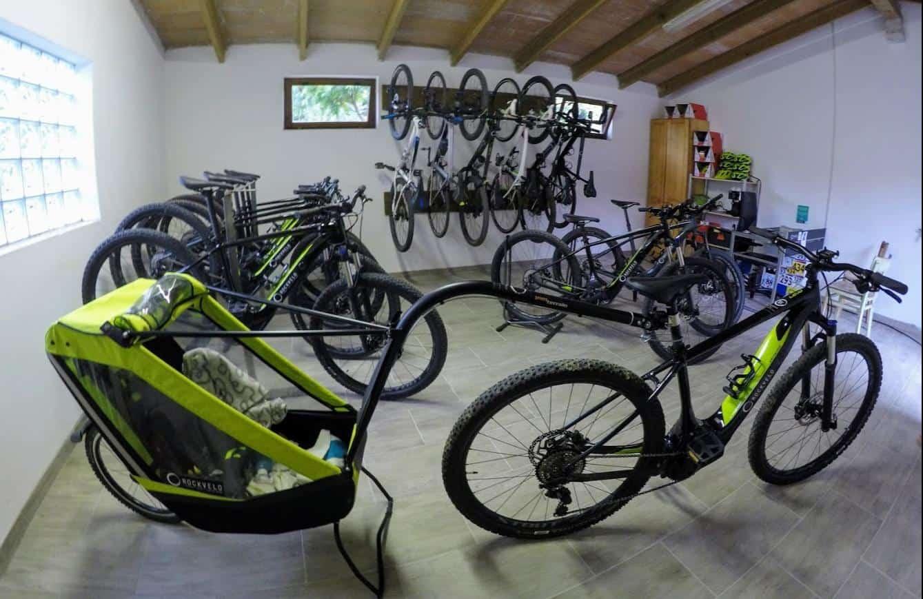 RockVelo rental shop in Skrilje, Vipava valley Slovenia. Ebikes MTB bikes road bikes available.