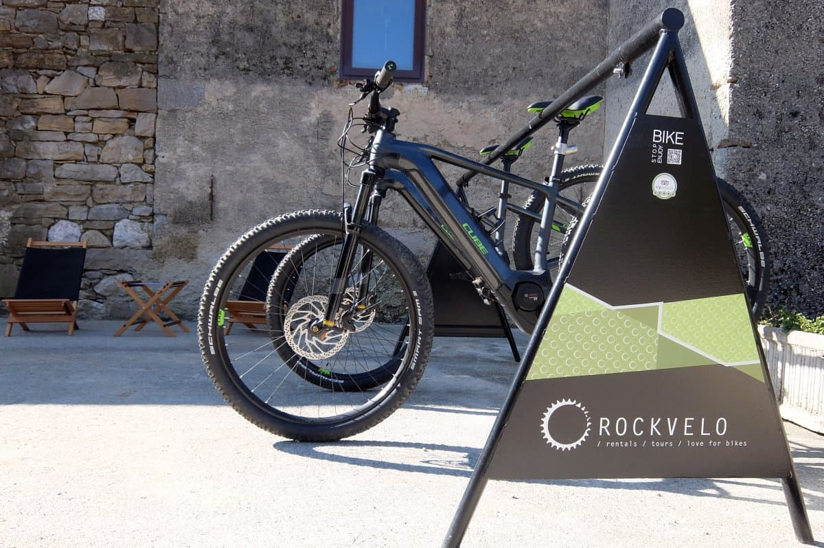 Rental e-bikes by RockVelo in Slovenia. Rental shop setting.