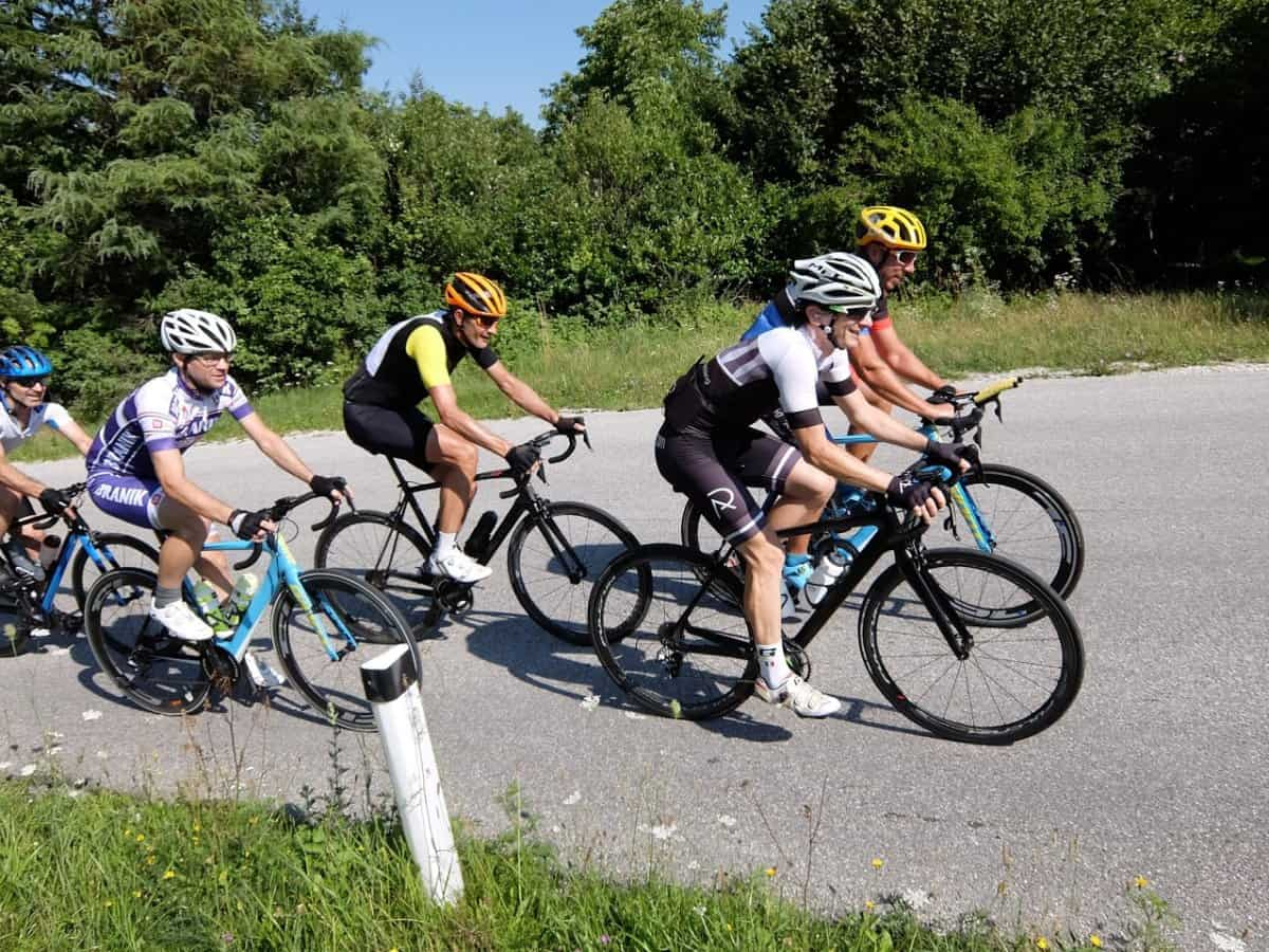 Group of cyclist. Rockvelo tours Slovenia